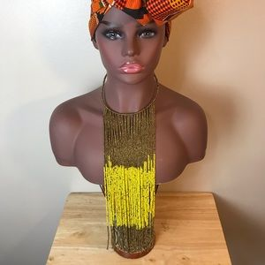 African statement waterfall necklace
